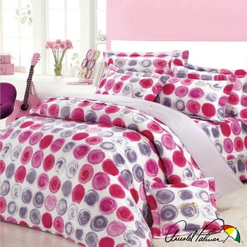 《Arnold Palmer雨傘牌》樣粉小調-40紗精梳純棉床罩雙人七件組