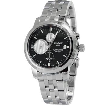TISSOT TISSOT 天梭 PRC200 三眼計時機械鋼帶錶-黑面白圈# T0144271105101