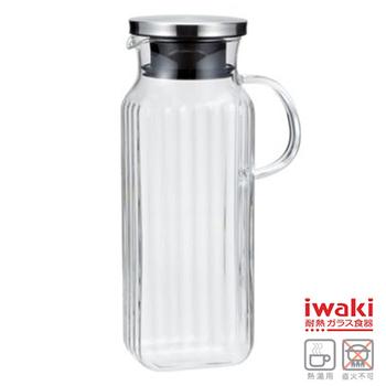 iwaki 耐熱玻璃水壺 1L(手柄方型款)(K296KT-SV)
