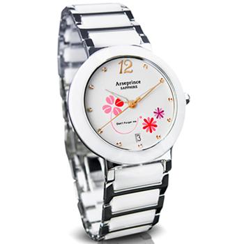 Arseprince 秘密花園晶鑽陶瓷中性錶(紅花白)