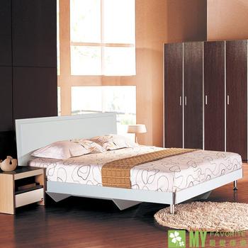 ★結帳現折★最愛傢俱 雪白風情5尺井字型雙人床台(雪白色)