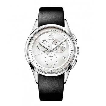 Calvin Klein Basic 三環計時層次魅力皮帶腕錶-銀白面  K2A27138