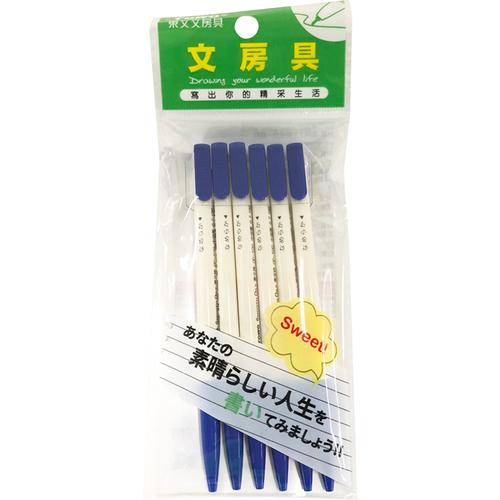 東文OP-100中油筆(藍#6入)