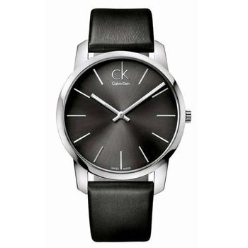 Calvin Klein City 城市都會弧型切面皮帶腕錶(灰黑 K2G21107)