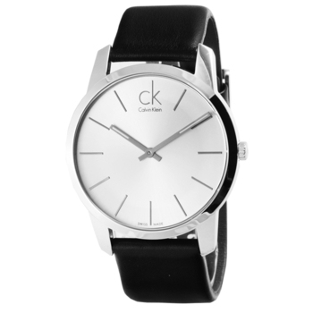Calvin Klein City 城市都會弧型切面皮帶腕錶(銀白面-黑皮帶 K2G211C6)