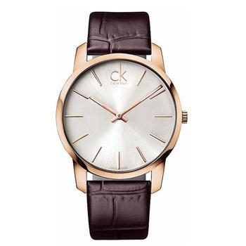 Calvin Klein City 城市都會弧型切面皮帶腕錶(玫瑰金框/深咖啡色錶帶 K2G21629)