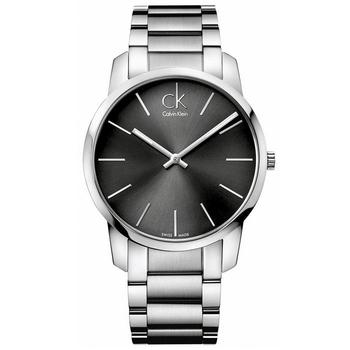 Calvin Klein 時尚魅力弧形切面鋼帶腕錶(K2G21161-黑灰色)
