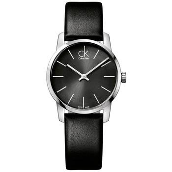 Calvin Klein City 城市都會弧型切面皮帶女錶(灰黑 K2G23107)
