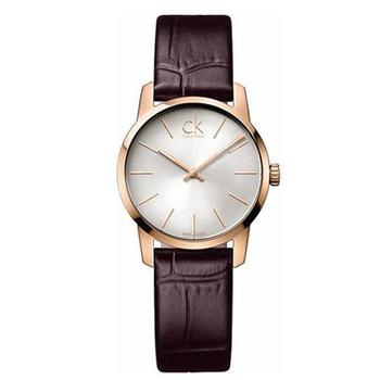 Calvin Klein City 城市都會弧型切面皮帶女錶(玫瑰金框/深咖啡色錶帶 K2G21629)