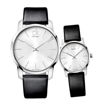 Calvin Klein City 城市都會弧型切面皮帶對錶(銀白-情人對錶)