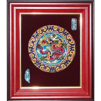 鹿港窯 交趾陶開運裝飾壁飾-祥龍戲珠(圓形)(圓形)