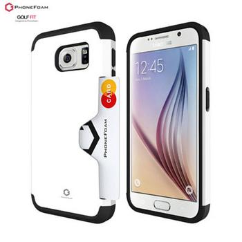 PhoneFoam Golf Fit Samsung Galaxy S6 Edge 插卡式吸震保護殼 買就送螢幕保護貼(白色)
