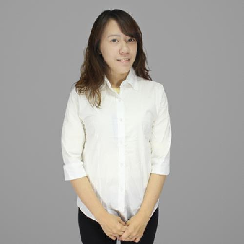 IN女彈力七分袖襯衫(白L)