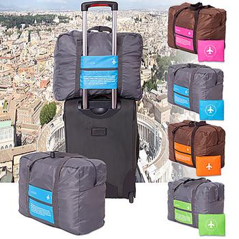 韓版 二合一折疊式行李箱拉桿手提袋 32L(藍色配灰色)