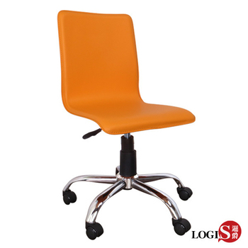 LOGIS 橘色歐風皮革事務椅/電腦椅(橘鐵腳)
