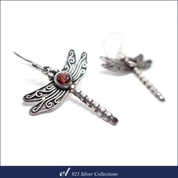 el 925 Silver 石榴石純銀耳環 Red Dragonfly(針式)