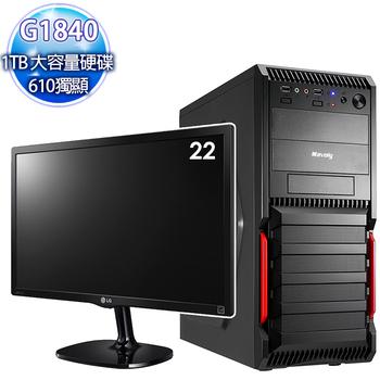 華碩平台 【獵艷之權】intel極致雙核 H81晶片 210獨顯 大容量硬碟+22型LG液晶顯示器