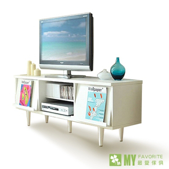 最愛傢俱 密卡登翻轉面板電視櫃(白色)