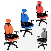 《凱堡》雙背腰頭靠調整三孔辦公椅/電腦椅(四色)(紅)
