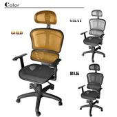 《凱堡》高彈力工學透氣辦公椅/電腦椅(三色)(金)