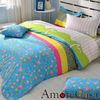 AmoreCasa 花漾舞曲 玫瑰絨加大四件式被套床包組