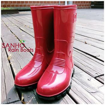 ★結帳現折★SANHO 雅式半筒長雨鞋(兩色可選)(紅色9)