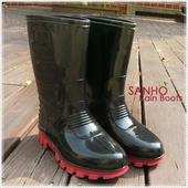 《SANHO》雅式半筒長雨鞋(兩色可選)(黑色9)