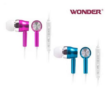 WONDER 入耳式夜光耳機 線控耳麥 WA-E05M(銀紅/銀藍 隨機出貨)