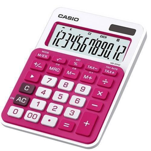 CASIO 12位數Colorful 微時尚計算機 MS-20NC(黑桃紅/紅白 隨機出貨)