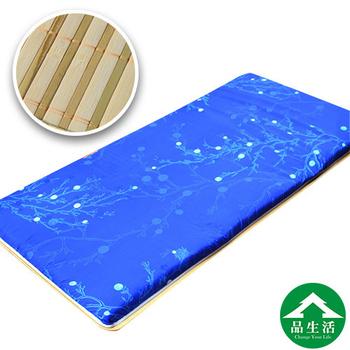 品生活 冬夏兩用青白鋪棉床墊3x6尺 單人(珊瑚藍)