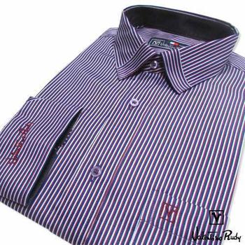 Valentino Rudy范倫鐵諾.路迪 【修身版】長袖襯衫-藍紅白直條(L)