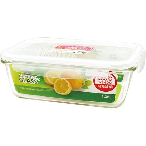 樂扣樂扣 鮮綠耐熱玻璃保鮮盒長方形1.35L(LLG0008G)