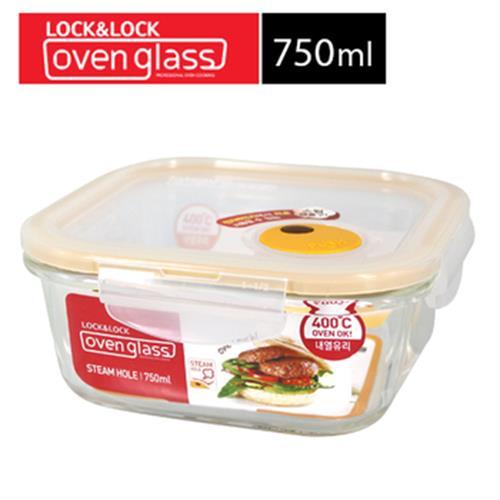 樂扣樂扣 輕鬆熱耐熱玻璃保鮮盒/750ml/方(LLG224T)