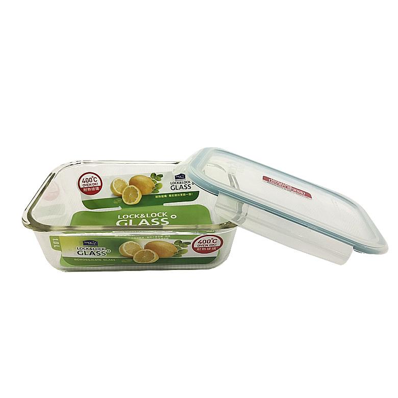 樂扣樂扣 鮮綠耐熱玻璃保鮮盒長方形1L(LLG0007G)