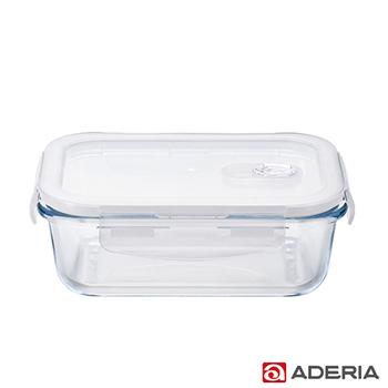 《ADERIA》日本進口耐熱玻璃扣式保鮮盒600ml(長型款)(H-8764)