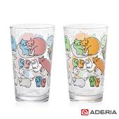 《ADERIA》日本進口Instyle貓咪玻璃套杯組225ml(1623+24)