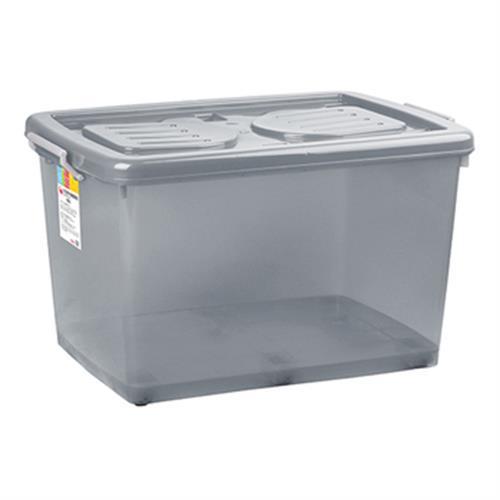 RT 彩色透明滑輪整理箱-85L(顏色隨機)