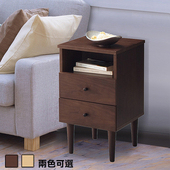 《C&B》代代木和風實用收納床邊櫃(胡桃木)