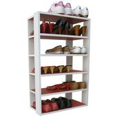 《頂堅》六層開放式鞋架-置物架(紅色+白色)
