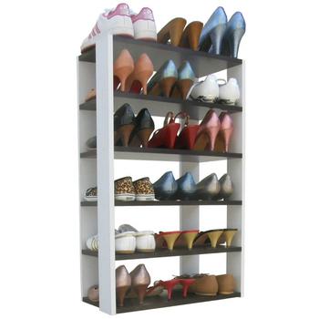 《頂堅》六層開放式鞋架-置物架(深胡桃木色+白色)