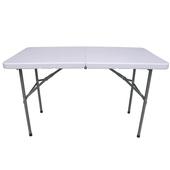《頂堅》4尺二段式可調整高低-對疊折疊桌/工作桌/露營桌/野餐桌/拜拜桌(象牙白色)