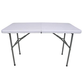 頂堅 4尺二段式可調整高低-對疊折疊桌/工作桌/露營桌/野餐桌/拜拜桌(象牙白色)