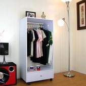 《頂堅》單吊衣桿+大抽屜-吊衣櫃/吊衣櫥-素雅白色 $1520