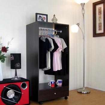 頂堅 單吊衣桿+大抽屜-吊衣櫃/吊衣櫥-深胡桃木色