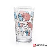 《ADERIA》日本進口Instyle貓咪玻璃杯225ml(1623-紅藍色)