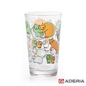 《ADERIA》日本進口Instyle貓咪玻璃杯225ml(1624-橘綠色)