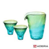 《ADERIA》日本進口津輕系列雙色漸層酒杯玻璃3件家庭組(FS-62589)