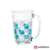 《ADERIA》日本進口格紋啤酒馬克杯410ml(9389-藍)