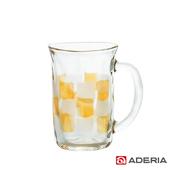 《ADERIA》日本進口格紋啤酒馬克杯310ml(9388-琥珀)