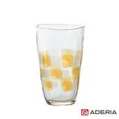 《ADERIA》日本進口格紋啤酒杯370ml(9386-琥珀)